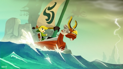 Link aboard the boat in Wind Waker